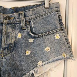 Carmar Shorts - LF Carmar Daisy Denim Shorts Floral Jean Cutoffs